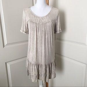 JODIFL Tan Peplum Tunic Dress SZ SMALL